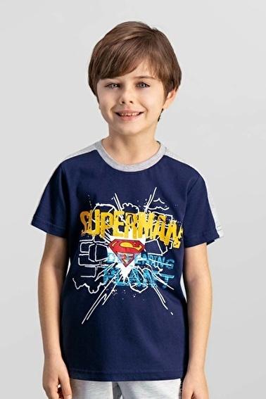 Superman  Lisanslı Açık Gri Erkek Çocuk T-Shirt Lacivert
